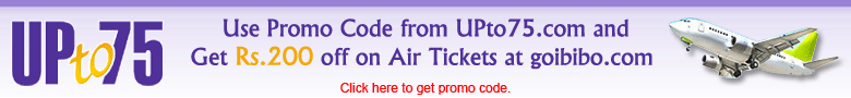 UpTo75.com - Get Rs 200 off on Air tickets at goibibo.com